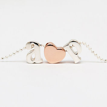 Lowercase Sterling Silver Initial Necklace - Lowercase Rose Gold Letter Necklace - 14K Rose Gold Bridesmaid Gifts