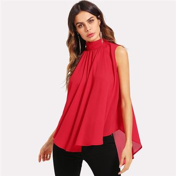 Mock Neck Pleated Front High Low Top Stand Collar Sleeveless Chiffon Blouse Women Top