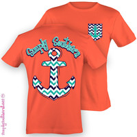 Simply Southern Funny Chevron Anchor Pocket Girlie Bright T Shirt