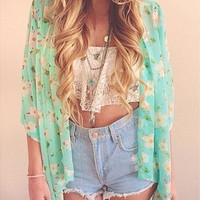 Fashion Women Floral Print 3/4 Short Sleeved Sheer Chiffon Kimono Cardigan