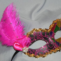 Harlequin Masquerade Mask in Hot Pink, Purple, Orange, Gold and Green