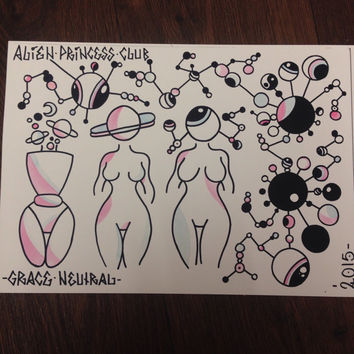 3 is the magic number . space babes print limited set of 17