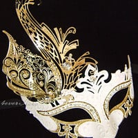 Greek Goddess Costume Mask -  Gold Leaf and White Masquerade Mask with Sparking Rhinestones and Gold Glitter - Toga Dress, Costume, Mask