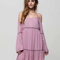 Patrons Of Peace Cold Shoulder Dress Lavender  In Sizes