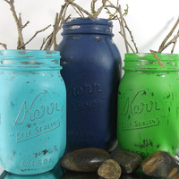 Navy and Green, Painted Mason Jar Decor Set