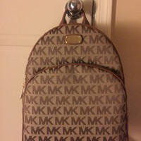NWT Michael Kors Large Abbey Women's Backpack MK Signature Monogram Bag Luggage