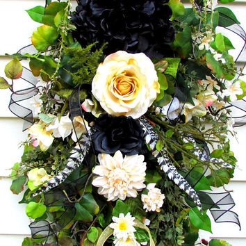 Swag for door, Year round wreath, teardrop swag, country rustic swag, Spring Summer Fall, hydrangea wreath, everyday wreath, rustic decor