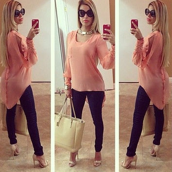 2016 New Arrival Sexy Chiffon Back Button Dovetail Blouses Shirts Women's Puff Sleeve Beading Decration Blusas Long Sleeve Casual  [8805236935]