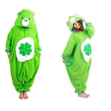 Green Four-leaf Clover Lucky Care Bear Cosplay Onesuit Adult Women Men Kugirumi Partywear Unisex One Piece Hooded Pajamas