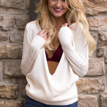 Olivia Knit Long Sleeve Sweater Top - Ivory