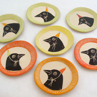 Party Hat Bird Cookie Plate - Yellow Rim