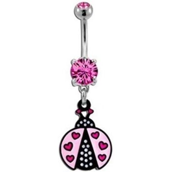 Pink Ladybug Belly Button Ring Dangle