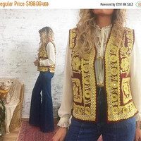 FLASH SALE Vintage 1960's HENDRIX Style Embroidered Ruby Red Velvet Mirror Work Gypsy Bohemian Vest || Woodstock Era || Size Medium