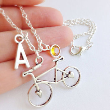 Personalized Bike Necklace, Sports Jewelry, Bikers Gift, Personalized Necklace, BikeTeam Necklace, Bicycle Necklace, Bike Fanatic Necklace