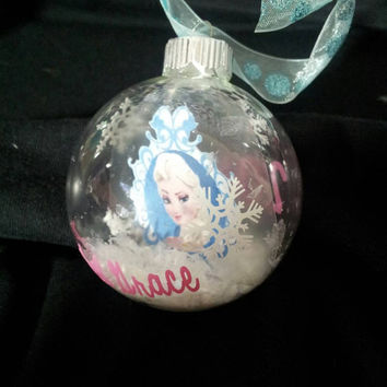frozen elsa floating christmas ornament personalized with vinyl personalized frozen ornament - Elsa Christmas Decoration