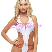 Adult Womens Sexy White/Red Naughty Nurse Romper Halloween Costume Small/Medium