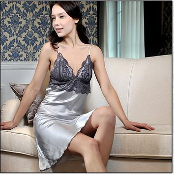 Sale Lace Casual Pajamas Sexy Faux Silk Women Nightgown Sleepwear