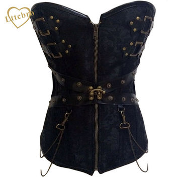 Black Steampunk Corset Bustiers With Chain Gothic Bustier Steel Boned Corset Top Victorian Inspired Overbust Corset Faux Leathet