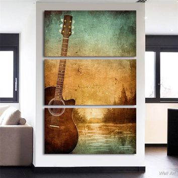 *Hd Printed 3 Piece Canvas Art Guitar Poster Vintage Painting Wall Pictures For Living Room Modern Free Shipping -92816-YP