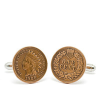 Tokens & Icons Indian Head Cufflinks