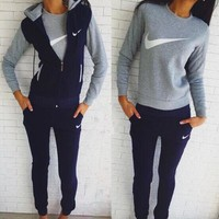 NIKE Winter Fashion Keep Warm Set (3 Piece Set) Tops + Pants + Jacket