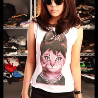 CAT Audrey Hepburn In Breakfast At Tiffany's Crop Top Short Tank Top White Gold Shirt Women Size S M