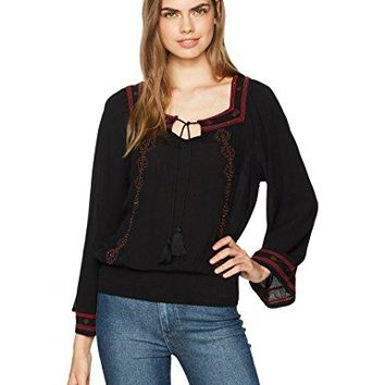 Jessica Simpson Womens Rogan Embroidered Peasant Top
