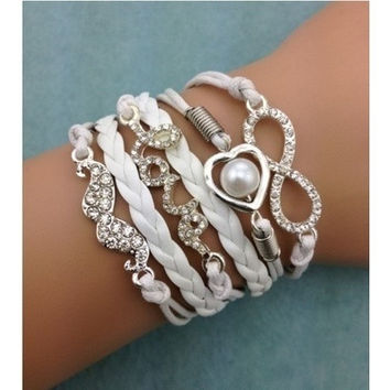 infinity bracelet, heart shaped pearls bracelet,wedding bracelet love bracelet,mustache leather = 1932699460
