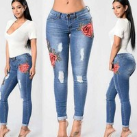 Sexy Embroidered Denim Trousers
