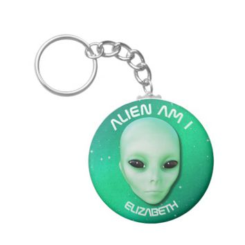 Alien Am I Green Funny Alien Face With Black Eyes Basic Round Button Keychain