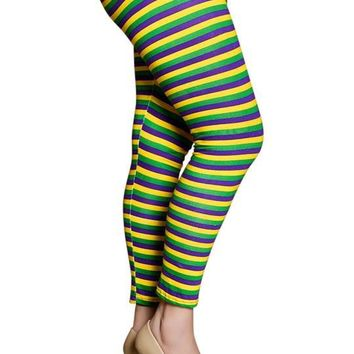 Mardi Gras Purple Green and Gold All Over Tights