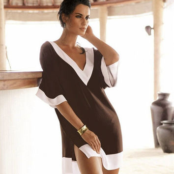 Slit Chiffon Loose V-neck Short Sleeve Short Dress