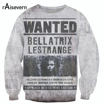 Raisevern New Style Vintage Design 3D Sweatshirts WANTED Bellatrix Lestrange Printed Harajuku Sweats Tops Hoodies Sudaderas