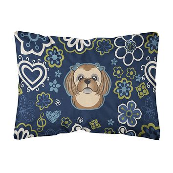 Blue Flowers Chocolate Brown Shih Tzu Canvas Fabric Decorative Pillow BB5100PW1216
