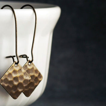 Antique Brass Hammered Square Earrings by etco on Etsy