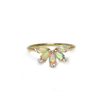 14kt Gold Diamond and Opal Parisian Butterfly Ring