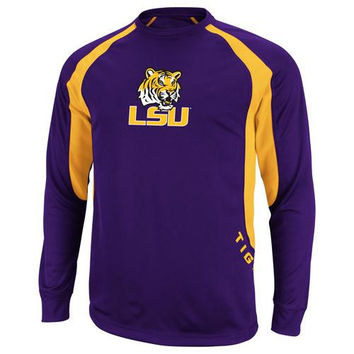 Majestic LSU Tigers Synthetic Long Sleeve Premium T-Shirt - Purple/Gold