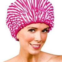 Betty Dain Betty Dain Stylish Design Mold Resistant Shower Cap, The Fashionista Collection, Pink Peppermint, 2.88 Ounce