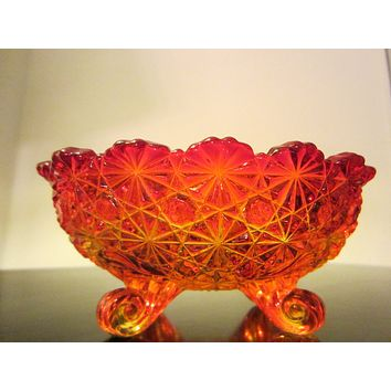 LE Smith Amberina Depression Footed Pressed Daisy Glass Bowl