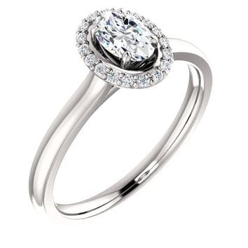0.50 Ct Oval Halo-styled Diamond Engagement Ring 14k White Gold