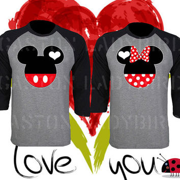 Mickey and Minnie His Her Inspired Soul Mate Couple Disney Perfect Matching Love Set Raglan T Shirt Baseball Tee 3/4 Sleeve Price For 1 Tee