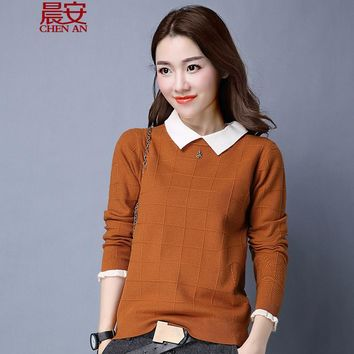 2017 spring new korean woman knitted pullover sweater women's dolls turn down collar plaid sweater femme tricot pull jumper