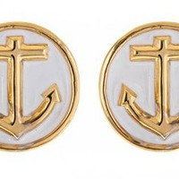 The Anchor Earrings in White