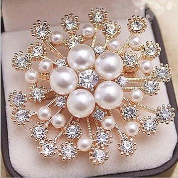 2016 Crystal Brooch Lapel Pines Fashion Women Wedding Dress Hijab Pins Jewelry Rhinestone Large Brooches