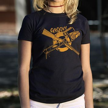 Groovy Chainsaw and Boomstick [Evil Dead] Women's T-Shirt