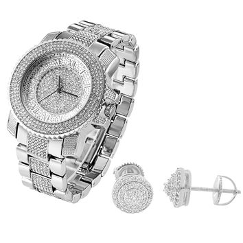 Men's Iced Out White Gold Tone Techno Pave Watch & Designer Earrings Combo