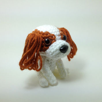Cavalier King Charles Spaniel Blenheim Stuffed Animal Handmade Amigurumi Dog Crochet Puppy Doggie Doll / Made to Order