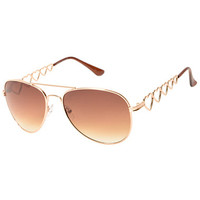Heart Breaker Gold Aviator Sunglasses