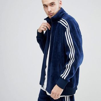 adidas Originals adicolor Velour Track Jacket In Oversized Fit In Navy CW4915 at asos.com