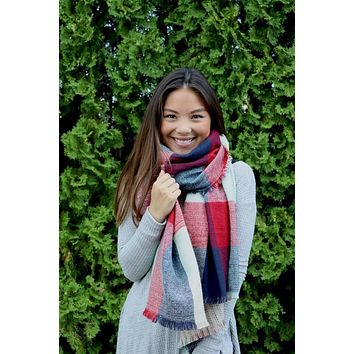 Reversible Blanket Scarf (Mint Color Block & Stitched Stripe)